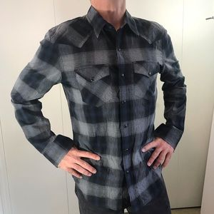 AE Outfitters slim fit S/P plaid blue gray snap